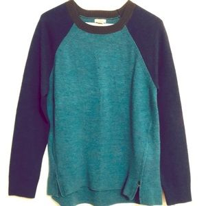 L.L.Bean Wool Color Block Crew Neck Sweater